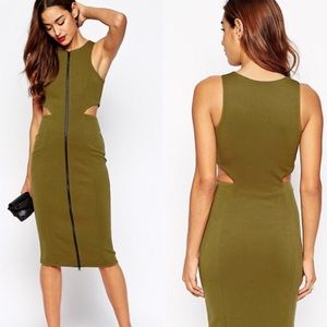 ASOS Olive Green Zip Front Cut Out Midi Dress